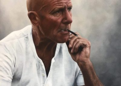 Photorealistic oil painting of a man smoking