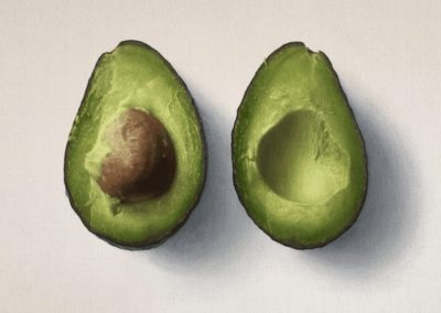 Photorealistic oil painting of avocados