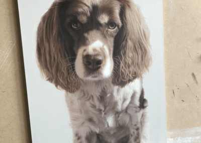 Photorealistic oil painting of a spaniel