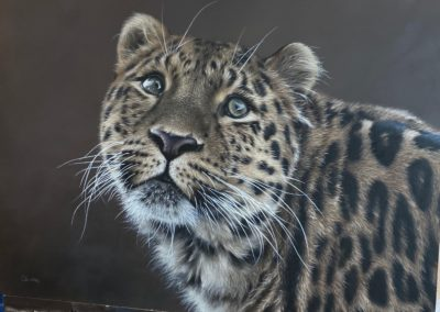 Photorealistic oil painting of a cheetah