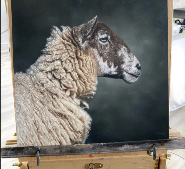 Photorealistic oil painting of a sheep