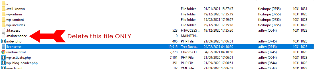 Showing the .Maintenance file in FTP